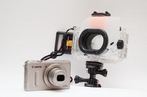 Kompaktkamera mit Unterwassergehäuse