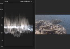 Filmschnitt bei Unterwasserfilmen: Farbkorrektur-korrekte-Helligkeitsverteilung